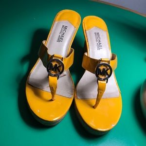 Michael Kors Bright Yellow Leather Wedge Sandal 10